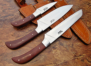 LOT-CP-348,  Custom Handmade 440C Stainless Steel Chef Knife Set