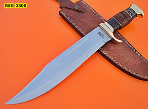 REG-2300, Handmade 440c Stainless Steel 16.4 Inches Bowie Knife - Solid Black Doller Sheet and Leather Hides Handle with Brass Guards