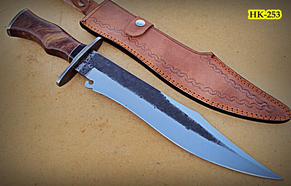 REG-HK-253 B, Handmade High Carbon Steel 17.2 inch Hunting Knife - Beautiful Rose Wood Handle with Damascus Steel Guard