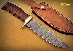 REG-HK-253, Handmade Damascus Steel 11.4 Inches Bowie Knife - Perfect Grip Rose Wood Handle with Brass Guard
