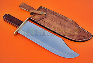 REG-HKC-166, Handmade 16.7 Inches High Carbon Steel Bowie Knife - Solid Rose Wood Handle with Brass Guard