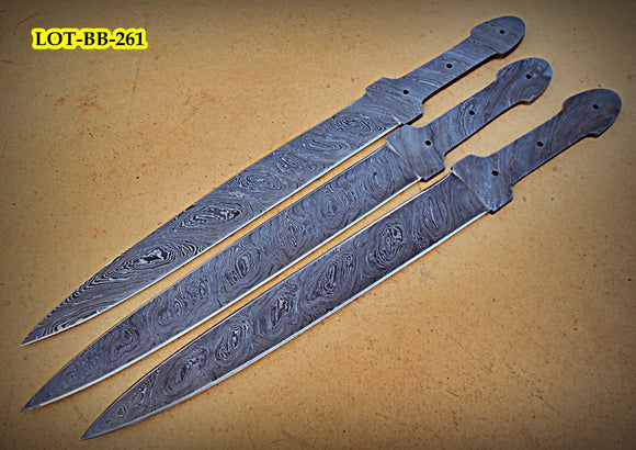 LOT-BB-261,  Handmade Damascus Steel Blank Blade Full Tang Dagger Knives (Lot of 3) Set