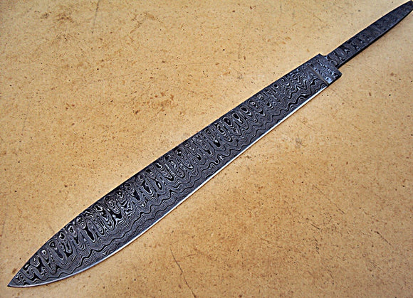 BB-258,  Handmade Damascus Steel Blank Blade Full Tang Hunting Knife