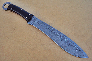 REG-HK-209, Custom Handmade 15.00 Inches Damascus Steel Bowie Knife – Micarta Sheet Handle