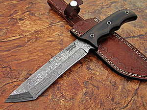 REG-Hk-379, Handmade Full Tang Damascus Steel 11 Inches Tactical Knife - Perfect Grip Black Brown Canvas Micarta Handle
