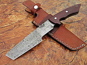 REG-Hk-382, Handmade Full Tang Damascus Steel 11.2 Inches Tactical Knife - Perfect Grip Black Brown Canvas Micarta Handle