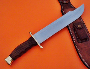 REG-HKJ 309- Handmade 440c Stainless Steel Bowie Knife - Perfect Grip Rose Wood Handle with Brass Guard