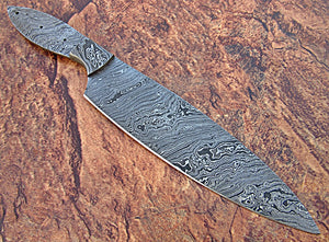 BBC-655,  Handmade Damascus Steel 12 Inches Full Tang Chef Knife with Damascus Steel Bolster - Best Quality Blank Blade