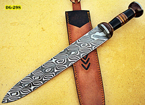 RAM-DG-298, Handmade Damascus Steel Dagger Knife – Solid Rose Wood & G-10 Handle