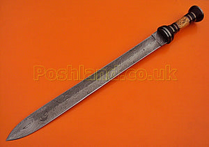 SW-149, Handmade Damascus Steel 25 Inches Sword - Best Quality Rose Wood & Colored Bone Handle with Damascus Steel Guard