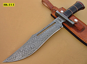 REG-HK-313, Custom Handmade 15.4 Inches Damascus Steel Bowie Knife - Beautiful Black G-10 Micarta Handle with Damascus Steel Guard