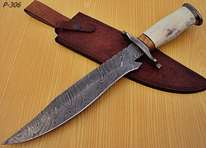 "REG-P-306- Custom Handmade Damascus Steel 15.0"" Inches Hunting Knife."
