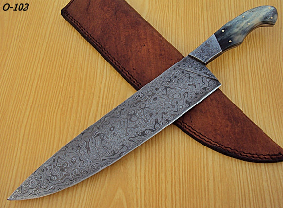 RK-O-102- Damascus Steel Chef Knife- Damascus Steel Bolster & Stained Bone Handle.