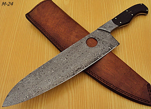 RK-M-24- Damascus Steel Chef Knife- Damascus Steel Bolster & Bull Horn Handle.