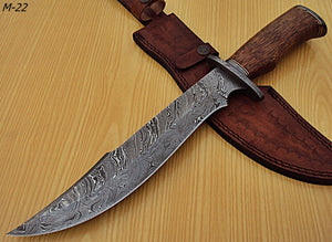 "REG-M-22- Custom Handmade Damascus Steel 15.1"" Inches Hunting Knife."