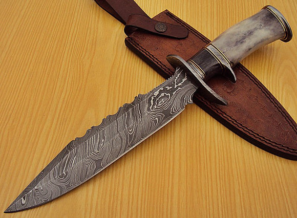 REG 1322 Handmade Damascus Steel 14.50 Inches Bowie Knife - Gorgeous Handle
