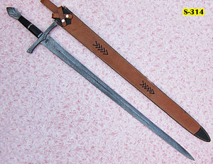 Sw-314-B, Handmade Damascus Steel 42 Inches Sword - Solid Black G-10 Handle with Damascus Steel Guard