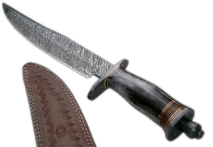 REG 599 Custom Handmade Damascus Steel Bowie Knife- Stunning Colored Handle