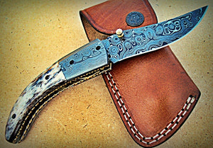 FN-A-84, Custom Handmade Damascus Steel Folding Knife - Colored Bone Handle with Damascus Steel Bolsters