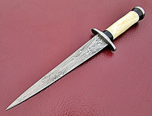 RAM-07-80 b Handmade Damascus Steel Dagger Knife – Solid Bone and Black Colored Wood Handle