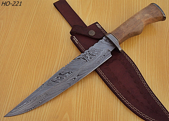 REG-HO-221  Handmade Damascus Steel 15.2Inches Bowie Knife -  CHANNAR WOOD and DAMASCUS Steel Guards  Handle