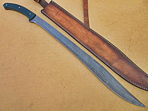 SW-282, Handmade Damascus  Steel 30 Inches Sword - Beautiful Blue Jean Micarta Handle