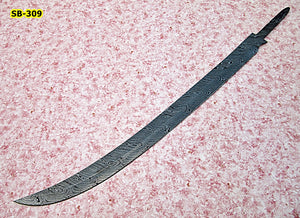 SW-BB-309- Handmade Damascus Steel 29.4 Inches Full Tang Sword Blank Blade