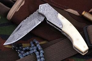 FN-02, Custom Handmade Damascus Steel 7.4 Inches Folding Knife - Beautiful Colored Camel Bone Handle with Damascus Steel Bolster