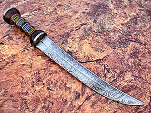 RAM-DG-321, Handmade Damascus Steel 17 Inches Dagger Knife – Solid Three Tone Micarta Handle