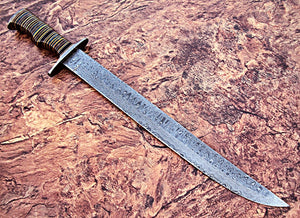 Sw-308, Handmade Damascus Steel 23.4 Inches Sword - Three Tone Micarta Handle with Damascus Steel Guard