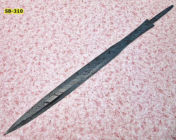 SW-BB-310- Handmade Damascus Steel 35.2 Inches Full Tang Sword Blank Blade