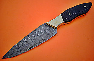 SK-222, Custom Handmade Damascus Steel Skinner Knife - Beautiful Bull Horn Handle with Brass Bolster