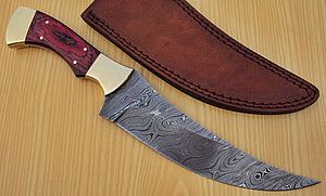 REG-Q-544- Handmade Damascus Steel 12 inches Hunting Knife - Exotic Red Pakka Wood Handle with Brass Bolsters
