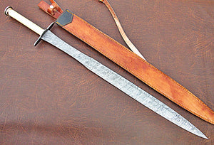 SW-304, Handmade Damascus  Steel 36.4 Inches Sword - Beautiful Brass Handle with Damascus Steel Guard