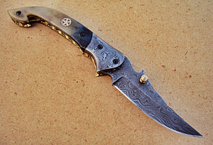 FNA-32 Custom Handmade Damascus Steel Folding Knife - Beautiful Camel Bone Handle with Damascus Steel Bolsters