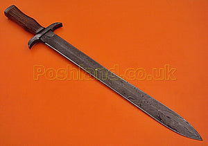 SW-146 Handmade Damascus Steel 25.4 Inches  Sword - Solid Marindi Wood Handle with Damascus Steel Guards