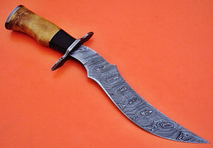 "REG-HK-100.Handmade Damascus Steel 14.7"" Inches Bowie Knife -Exotic Wood Handle."