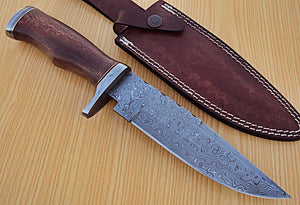 "REG-U-1181- Custom Handmade Damascus Steel 12.2"" Inches Hunting Knife."