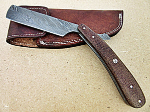 RZ-25, Custom Handmade Damascus Steel Straight Razor - Beautiful Jute Micarta with Muzik Pin Handle