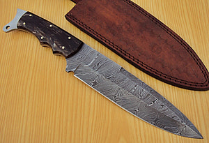"REG-P-310- Custom Handmade Damascus Steel 12.2"" Inches Hunting Knife."