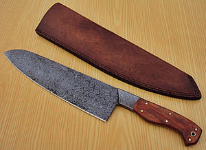 RK-Q-543- Damascus Steel Chef Knife- Damascus Steel Bolster & G-10 Micarta Handle.
