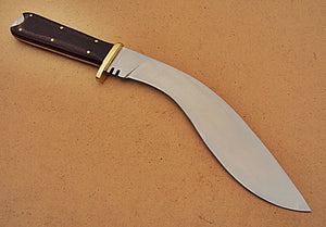 KRI-193, Handmade Hi Carbon Steel 15.4 inches Kukri Knife - Beautiful Black Brown Micarta Handle