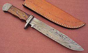 REG-JY-70, Handmade Damascus Steel Hunting Knife - Wall Nut Wood Handle and Damascus Steel Bolstres