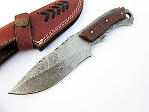 BC-205, Custom Handmade Full Tang Damascus Steel Skinner Knife - Brown Jute Micarta Handle