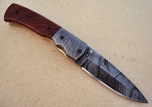 FNA-29 Custom Handmade Damascus Steel Folding Knife- Damascus Steel Bolsters - Burl Wood Handle