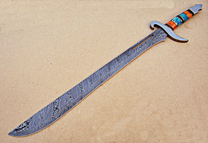 Sw-325, Handmade Damascus Steel 33.4 Inches Sword - Beautiful Combination of Colored Bone Handle with Stainless Steel Guard