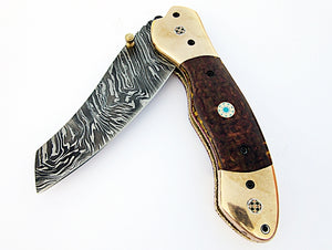 FA-1112, Custom Handmade Damascus Steel Folding Knife - Solid (G-10) Moicarta & Three Muzike Pin Handle with Browns Bolster