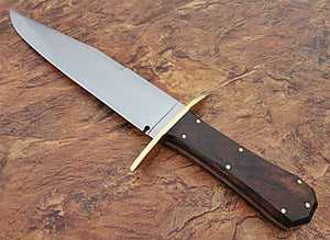 REG-S-1118, Custom Handmade Hi Carbon Steel 15.00 Inches Full Tang Bowie Knife-  Rose Wood Handle with Brass Guard
