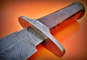 "RAM-DS-86- Damascus Steel 15.0"" Inches Dagger Knife –Rose Wood Handle."