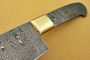 BBC-664,  Handmade Damascus Steel 12 Inches Full Tang Chef Knife with Brass Bolster - Best Quality Blank Blade